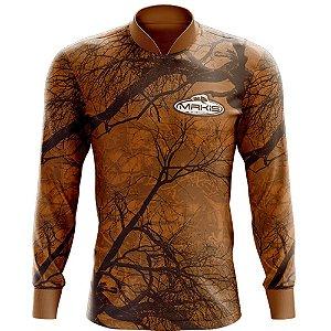 Camisa Esportiva Com Uv50 Makis Fishing Camuflada Marrom MK-12