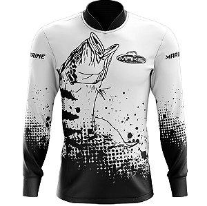 Camisa De Pesca Proteção Solar Uv50 Makis Fishing e Marine MK-22 Branca