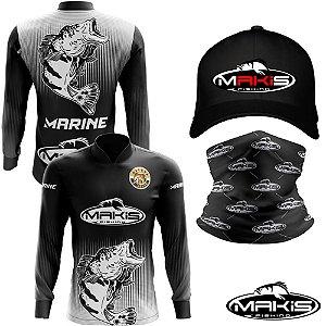 Camisa De Pesca Proteção Uv50 Makis Fishing Marine MK-21 Com Boné e Bandana Preta