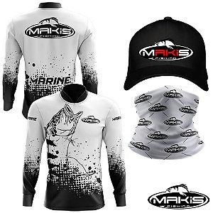 Camisa De Pesca Proteção Uv50 Makis Fishing Marine MK-22 Com Boné e Bandana Branca