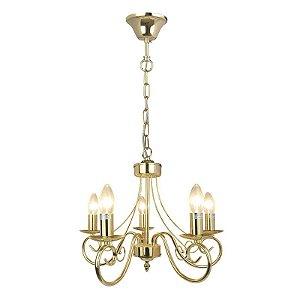 P14005-5 – Lustre metal dourado 5 braços - Atacadista - Premier Iluminação