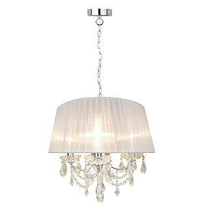 P16154-3 – Pendente Lustre tecido branco e cristal - Atacadista - Premier Iluminação