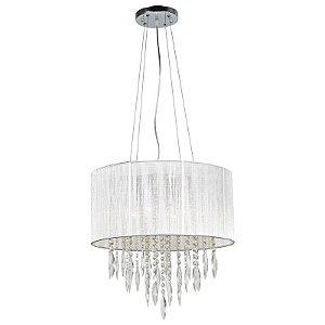 A493 – Lustre tramado cinza e cristal - Atacadista - Premier Iluminação