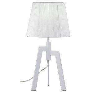 A329 – Abajur branco 3 pés metal e cúpula tecido - Atacadista - Premier Iluminação