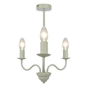 P722-3-Cream – Lustre 3 braços creme acetinado - Atacadista - Premier Iluminação
