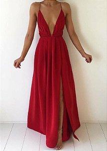 403ab93c67db Vestido longo com decote ousado e fenda na cor Rose - @ateliemyway ...