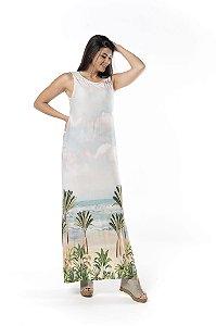 Vestido Regata Longo Estampado Slim