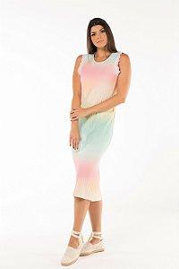 Vestido Midi Canelado Tie Dye