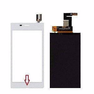 Kit Touch + Lcd Sony Xperia M2 Aqua D2403 D2406 Branco - 1ª Linha