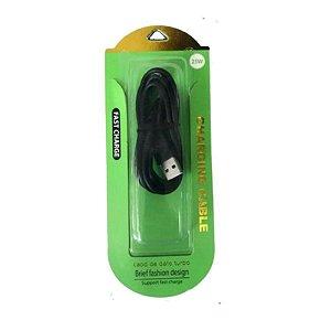 CABO MICRO USB V8 TURBO 25W PRETO REFORÇADO FAST CHARGE