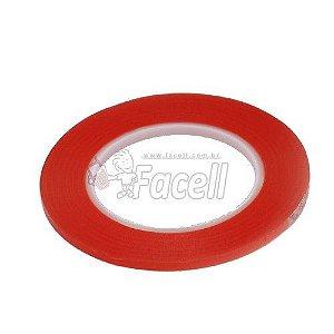 Fita Dupla Face 3M Vermelho com Super Cola 50 Metros Largura de 5mm