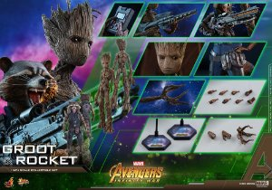Rocket e Groot Jovem Vingadores Guerra Infinita Movie Masterpieces Hot Toys