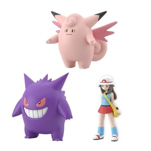 Leaf & Clefairy & Gengar Pokemon FireRed Pokemon Scale World Bandai Original