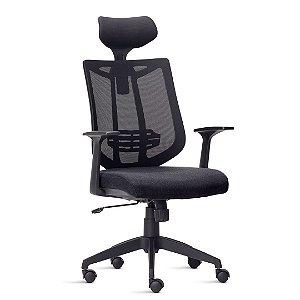 Cadeira Escritório Aika Encosto em Tela c/ Apoio Lombar e Encosto de Cabeça