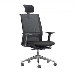 Cadeira Escritório Agille Encosto em Tela c/ Apoio Lombar e ajuste de Inclinação e Apoio de Cabeça