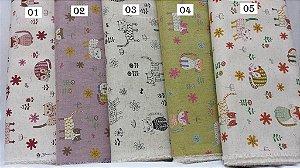 Gatinhos Alegres. Tecido em Linho Japonês (Cotton Linen)