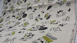 Gatos Pretos & Amarelos. Tecido em Linho Japonês (Cotton Linen)