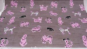 Cute Pink Dogs em tamanho Fat Quarter (50 x 55cm)