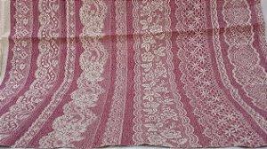 Rendas em Brando e Rosa. Tecido em algodão+linho