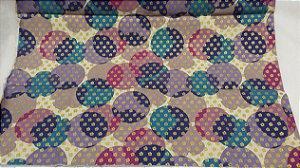 Bolinhas Coloridas. Tecido em algodão+linho