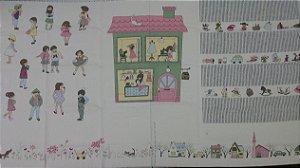 Kids at home. Painel com 04 Quadros (ambientes) diferentes. Tecido em algodão