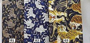 Tigre Asiático. Tecido em Algodão 100% Japonês em Fat Quarter   (50cm x 55cm)