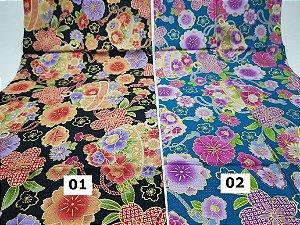 Flowers-01. Tecido Japonês 100% Algodão (50x55cm)