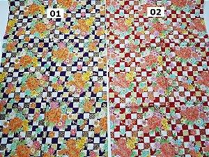 Flores Quadriculadas. Tecido Japonês 100% Algodão (50x55cm)