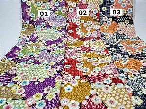Flowers-03. Tecido Japonês 100% Algodão (50x55cm)