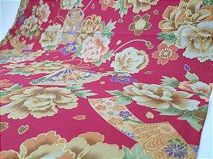 Flowers-04. Tecido Japonês 100% Algodão (50x55cm)
