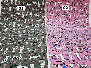 Black & White Cats. Tecido Japonês Algodão+Linho (50x55cm)