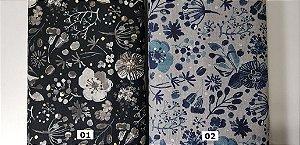 Golden / Silver Flower. Tecido em Algodão+Linho (cotton linen) Japonês (50x110cm)