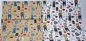 Cat Fashion. Tecido em Algodão com Linho (50x55cm)