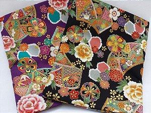 Flowers in Shield. 100% Algodão em Fat Quarter (50cm x 55cm)