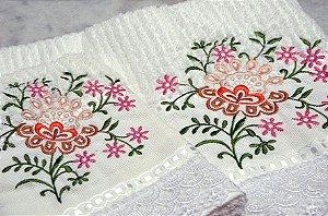 jogo de toalhas bordado