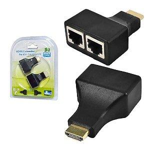 Extensor HDMI 30 Metros Via cabo de Rede Cat5/Cat6