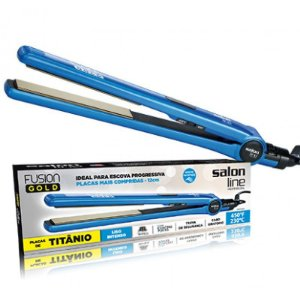 Prancha de Titanio Fusion Gold Azul Salon Line