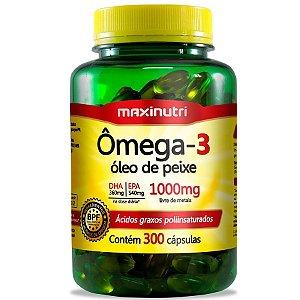 Ômega 3 (Óleo de Peixe) 1000mg com 300 cápsulas - Maxinutri