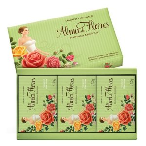 Estojo Alma de Flores com 3 Sabonetes 130gr Classico (Verde)