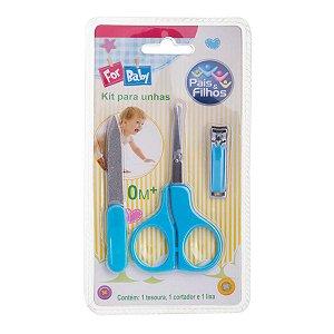 Kit Unha Infantil Pais & Filhos Lixa+Tesoura+Cortador Azul