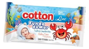 Toalhas Umedecidas Cotton Line Fundo do Mar 100un