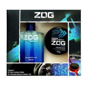 Kit Colonia Zog Velocity 100ml com Pomada Barba e Cabelo 70g