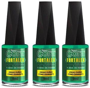 Esmalte Cora Fortalex 9ml com 03 unidades