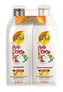 Kit Uso Diario Gota Dourada Sh+Cond  Leite de Coco 340ml