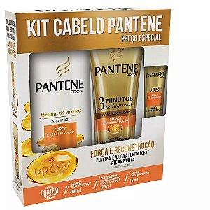 Kit Pantene Shampoo 400ml + Condicionador 175ml Força e Reco