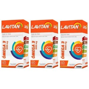 Lavitan Kit Vit Omega 3 1000mg 3 Frascos com 60Caps Cimed