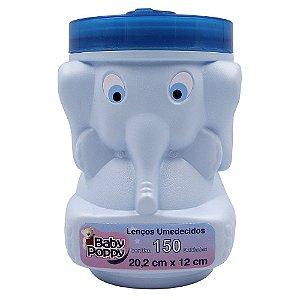 Lenço Umedecido Baby Poppy Azul c/ 150