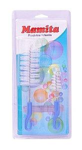 Kit Escova para Limpar Mamadeira Mamita Ref.128 (Rosa/ Azul)
