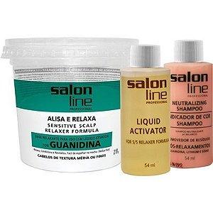 Alisante Salon Line Guanidina Pote Verde - Textura Média