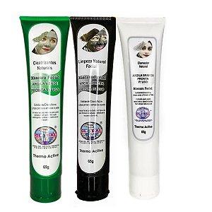 Global Máscara Facial de Argila Branca Preta e Verde 65g